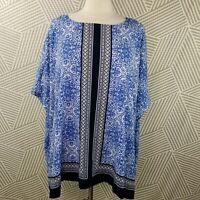 Croft & Barrow Blue Top Boxy Ikat boho tunic oversize lightweight Womens size 2X