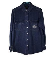 VTG Harley-Davidson Women's Metal Snap Button Up Blue Denim Long Sleeve Shirt M