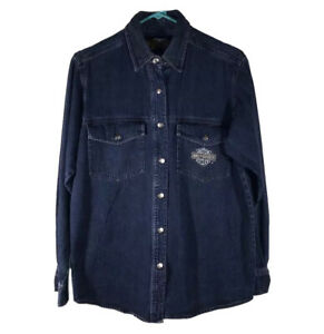 VTG Harley-Davidson Women's Shirt Metal Snap Button Up Blue Denim Long Sleeve M