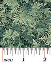 CHICKADEES & BERRIES GREEN FIR PINE BOUGHS CHRISTMAS FABRIC METALLIC