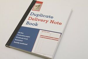 A5 DELIVERY NOTE BOOKS. 50 DUPLICATE & CARBONLESS PERFORATED SETS NCR. LEONARDO.
