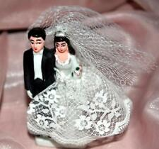 VTG 1940'S JAPAN BISQUE PORCELAIN BRIDE GROOM WEDDING CAKE TOPPER, W LACE & NET