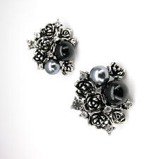 Vintage Design Retro Flower Floral Clip-on Clip on Earrings Faux Pearl Clear 687