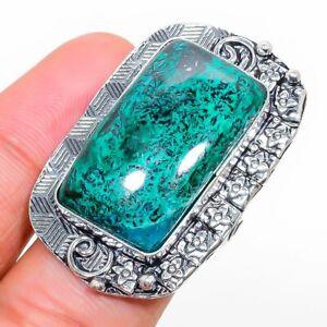 Chrysocolla Gemstone Handmade 925 Sterling Silver Jewelry Ring Size 8.5 G145