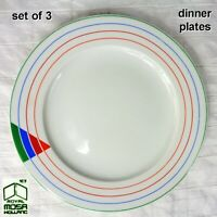 "Royal Mosa Holland 10-3/4"" Dinner Plates Colorful Striped Rim - SET of 3"