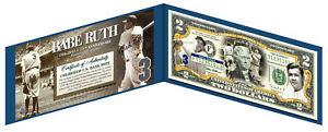 BABE RUTH *New York Yankees* Legal Tender U.S. $2 Bill *LICENSED* w/Folio & COA