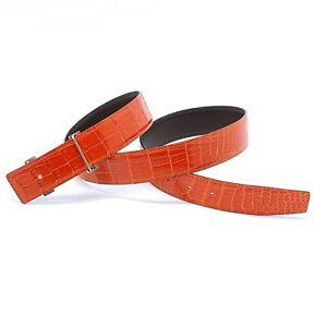 Handmade 32mm Genuine Orange Crocodile Skin belt strap Size 85 Free Shipping
