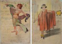 ANTIQUE PARIS PAINTING BURLESQUE JEAN COCTEAU ORPHEE PICASSO ERA SCOTTISH ARTIST