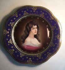 Antique Vintage Bavaria Porcelain Cabinet Plate with Image of Amorosa