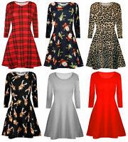 Womens Long Sleeve Plaid Mini Dress Ladies Xmas Party SWING Dresses