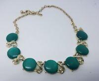 Vintage Coro Necklace  Green Stones & Rhinestones