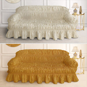 Luxury Pleated Sofa Protector Cover Frilled Jacquard Sofa Throw Cream Gold