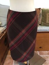 Talbots Brown Red Orange Plaid Straight Pencil Skirt 6 Petite Excellent