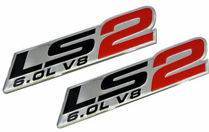 2x LS2 Emblem 6.0L V8 Engine Emblems Badge for Gm Chevy Chevrolet Pair Red