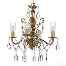 Iron & Crystal Gold Chandelier Lighting W/ Candle Votives Indoor/Outdoor Use