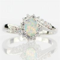 Beautiful White Opal Women 925 Silver Wedding Engagement Jewelry Ring Sz 6-10
