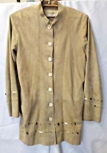 Maxfield Parrish Vintage Beaded Suede Coat, Medium