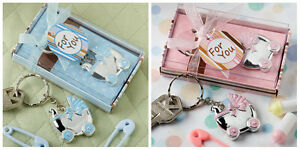Blue or Pink Baby Carriage Design Keychains Baby Shower Christening Favors