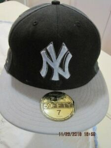 NEW YORK YANKEES New Era 59Fifty MLB Baseball Ball Cap Fitted Black & Grey NEW