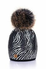 Women Ladies Winter Beanie Hat Knitted Fashion Large Pom Pom Silver Waves
