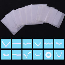 12x French Edge Tip Guides White Form Fringe Guide Manicure Nail Stickers Decal