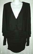 New BALMAIN Black Deep V Neck Shirred Jersey Dress 36 2 4 $2980