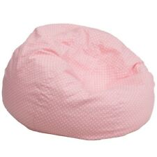 Flash Furniture Pink Fabric Kids Bean Bag, Pink, White - DG-BEAN-LARGE-DOT-PK-GG