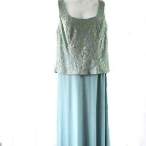 Patra Woman Sleeveless Special Occasion Dress Sz 14W Seafoam Aqua Gold Long