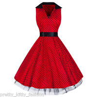 PRETTY KITTY 50s ROCKABILLY RED POLKA DOT PRINT VINTAGE SWING PROM PARTY DRESS
