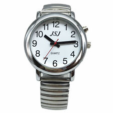 English Talking Watch with Alarm Expanding Bracelet, Silver Color, White Face