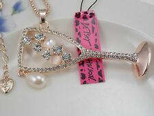 Betsey Johnson personality inlay Crystal stemware pendant necklace # B482