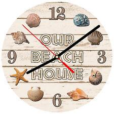 "8"" WALL CLOCK - Beach 2 Our House Kitchen Bathoom Bedroom Bar Tropical Ocean Sea"