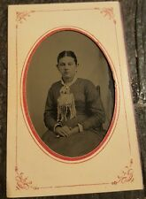 Early Tintype Tin Type Photo 1800's- Woman With Dress Crossed Hands Scarf