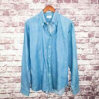 GANT Rugger Men's Button Down Shirt The Indigo Chambray Blue Sz Large