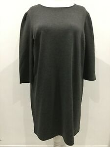bnwt NEW LOOK TUNIC DRESS UK 18 KNEE LENGTH GREY THICKER FABRIC PULL ON STYLE