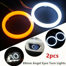 2x COB LED Angel Eyes Halo Ring Lamp Light With Turn Signal White Amber 60mm DRL