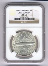 "GERMANY WEIMAR REP. 1930-F 5 REICHSMARK ""GRAF ZEPPELIN"" COIN, CERTIFIED NGC MS64"