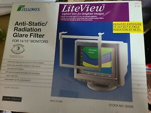 """Fellowes Anti Static Radiation Glare Filter For 14 To 15 """" Monitors"""