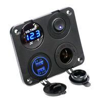 Blau LED Dual USB Schaltpanel Steckdose Ladegerät Voltmeter für Bus Boot RV 12V