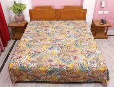 Indian Bohemian Bedding Handmade Paisley Printed Kantha Quilt Twin Size Blanket