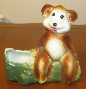 Vintage Small Shawnee Planter Pot Brown Grizzly Bear Sitting on a Log Tree