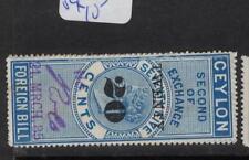 Ceylon Revenue QV 20c/75c Blue Second of Exchange VFU (9drh)