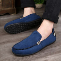 Men Minimalism Driving Loafers Suede Leather Moccasins Slip On Penny Shoes