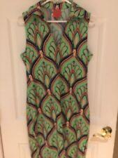 Tracy Negoshian  green  NAVY Knit Shift Dress tunic sz L sleeveless New Free shp