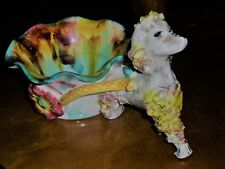 LARGE VINTAGE POODLE AND CART FIGURINE - GREAT CONDITION - 1950'S - ITALY