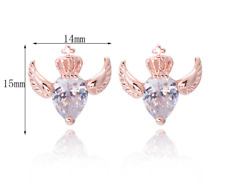 Rose Gold Plated Winged Crowned Love Hearts CZ stud earrings Valentines present