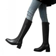 Women Knee High Leather Block Heel Biker Riding Round Toe Zip Boots Shoes Punk L