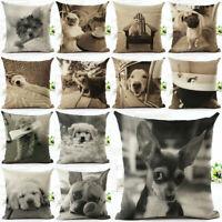 "18"" VINTAGE Dog Pattern Cotton Linen Cushion Cover Pillow Case Sofa Home Decor"