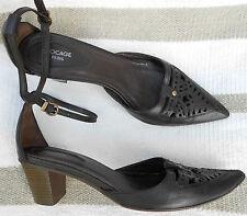 BOCAGE escarpins sandales bride cheville cuir noir P 37 TBE