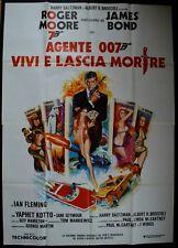 manifesto 4FG VIVI E LASCIA MORIRE LIVE AND LET DIE ROGER MOORE JAMES BOND 007
